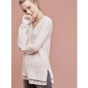 Anthro / Knitted & Knotted White Lace Trim Sweater